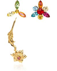Rodarte - Gold Flower Earrings With Multicolor Swarovski Crystal Details - Lyst