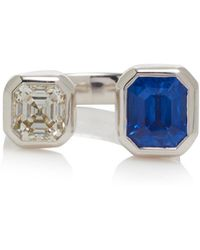 Jemma Wynne - M'o Exclusive: One-of-a-kind Ceylon Blue Sapphire And Diamond Open Ring - Lyst
