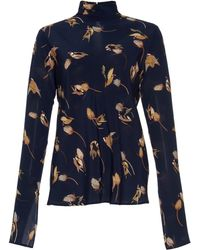 Agnona - Printed High Neck Blouse - Lyst