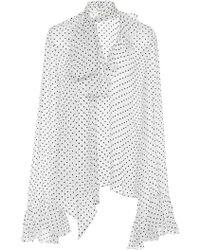 Rodarte - Polka Dot Ruffle Sleeve Chiffon Blouse - Lyst
