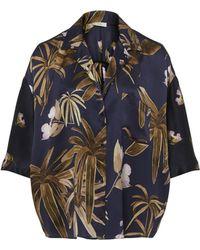 Vince - Mixed Tropical Garden Silk Pajama Shirt - Lyst