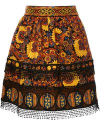 Anna Sui - Paisley Blooms Cotton Jacquard Skirt - Lyst