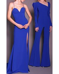 Christian Siriano - Textured Crepe Long Sleeve Jumpsuit - Lyst