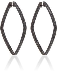 Ofira - Black Diamond Diamond Shape Hoop Earrings - Lyst