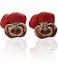 Silvia Furmanovich - Marquetry Sculptural Red Pansy Earrings - Lyst