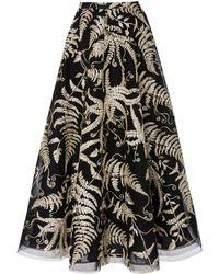 Marchesa - Embroidered Organza Midi Skirt - Lyst
