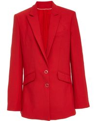 Jonathan Simkhai - Oversized Snap-detailed Wool-crepe Blazer - Lyst