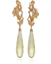 Wendy Yue - 18k Gold, Quartz And Diamond Earrings - Lyst