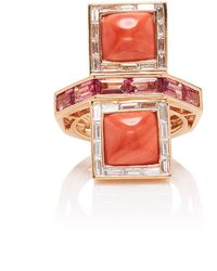 Wendy Yue - 14k Rose Gold, Coral, Tourmaline And Diamond Ring - Lyst