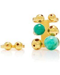 Paula Mendoza - Gold And Emerald Bulles Ring Set - Lyst