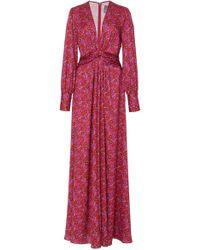 Lela Rose - Belted Floral Satin Gown - Lyst