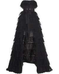Zuhair Murad - Strapless Tiered Lace Gown - Lyst