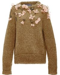 Monique Lhuillier - Rib Jumper With Floral Embroidery - Lyst