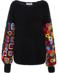 Tuinch - Exclusive Crocheted-panel Cashmere-blend Sweater - Lyst
