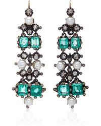 Gioia - Antique Emerald, Pearl And Diamond Drop Earrings - Lyst