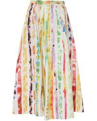 Rosie Assoulin - Printed Cotton-blend Poplin Midi Skirt - Lyst