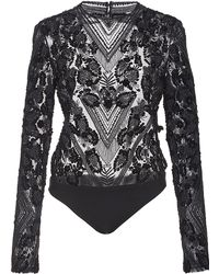Sally Lapointe - Floral Lace Embroidered Bodysuit - Lyst