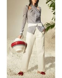 Rosie Assoulin - White Jug Bag With Navy And Red Stripes - Lyst
