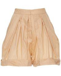 Vika Gazinskaya - High Waisted Pleated Cotton Shorts - Lyst
