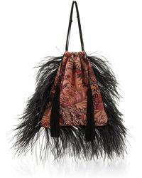 Attico - Jacquard Pouch Bag And Feathers - Lyst