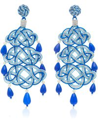 Anna E Alex - Woven, Stone Silver-plated Earrings - Lyst