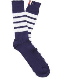 Thom Browne - Striped Mid-calf Cotton Socks - Lyst