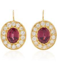 Renee Lewis - 18k Gold, Diamond, And Garnet Earrings - Lyst