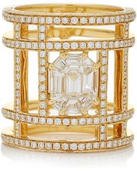 AS29 - Illusion Diamond & 18k Yellow Gold Tube Ring - Lyst