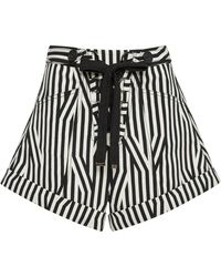 Self-Portrait - Lace-up High-rise Striped Shorts - Lyst