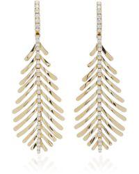Sidney Garber - Plume 18k Gold And Diamond Drop Earrings - Lyst