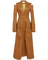 Christian Siriano - Slit Shoulder Woven Bamboo Coat Dress - Lyst