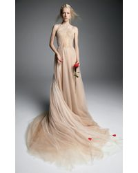 Vera Wang - Benoite Tulle A-line Gown With Corset Bodice And French Tulle Halter Drape - Lyst