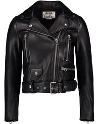 Acne Studios - Belted Leather Motorcycle Jacket - Lyst