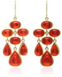 Mallary Marks - Trapeze 18k Gold Cabochon Fire Opal Earrings - Lyst