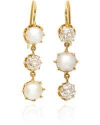Renee Lewis - 18k Gold, Pearl And Diamond Earrings - Lyst