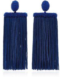 Oscar de la Renta - Waterfall Tassel Silk Earrings - Lyst