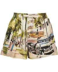 Monse - Scenic Printed Silk Shorts - Lyst