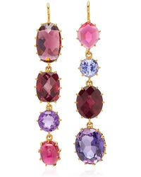 Renee Lewis - Antique Natural Pink Tourmaline, Synthetic Sapphire, Natural Garnet Earrings - Lyst