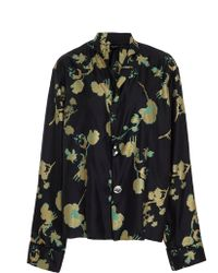 Cynthia Rowley Wipeout Floral Night Shirt - Black