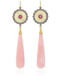 Arman Sarkisyan - Pink Opal Drops With Round Deco Top Earrings - Lyst