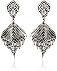 Sutra - 18k Black Rhodium And Diamond Earrings - Lyst