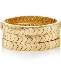 Roxanne Assoulin - Set-of-three The Mixers Chevron Gold Bracelets - Lyst