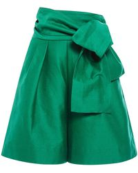 Isa Arfen - Cotton Silk Faille Classic Shorts With Wrap Belt - Lyst