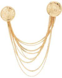 Balmain - Icon Brass Brooch - Lyst