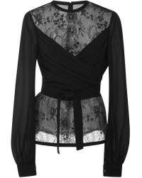 Elie Saab - Wrapped Lace Blouse - Lyst