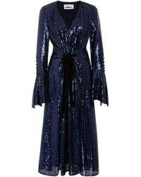 Prabal Gurung - Velvet-trimmed Bow-detailed Sequined-tulle Midi Dress - Lyst