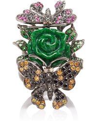 Wendy Yue - 18k Gold, Jade, Diamond, Sapphire And Tsavorite Ring - Lyst