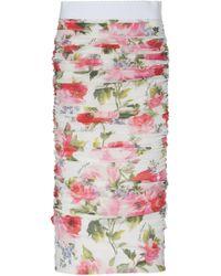 Dolce & Gabbana - Ruched Floral-print Silk Midi Skirt - Lyst
