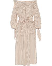 Caroline Constas - Off-the-shoulder Striped Cotton Jumpsuit - Lyst