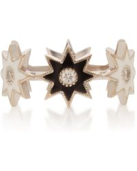Colette - 18k White Gold, Enamel And Diamond Ring - Lyst